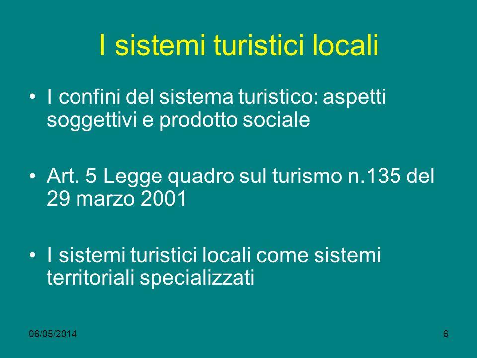 06/05/20146 I sistemi turistici locali I confini del sistema turistico: aspetti soggettivi e prodotto sociale Art.