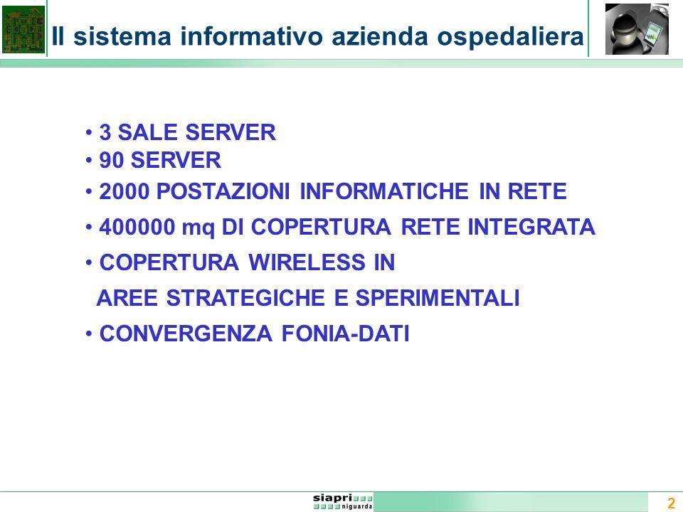2 Il sistema informativo azienda ospedaliera Un sistema informativo è un sistema che provvede alla raccolta e aggiornamento dei dati e delle informazioni relative ad una data applicazione attraverso opportuni apparati di acquisizione.