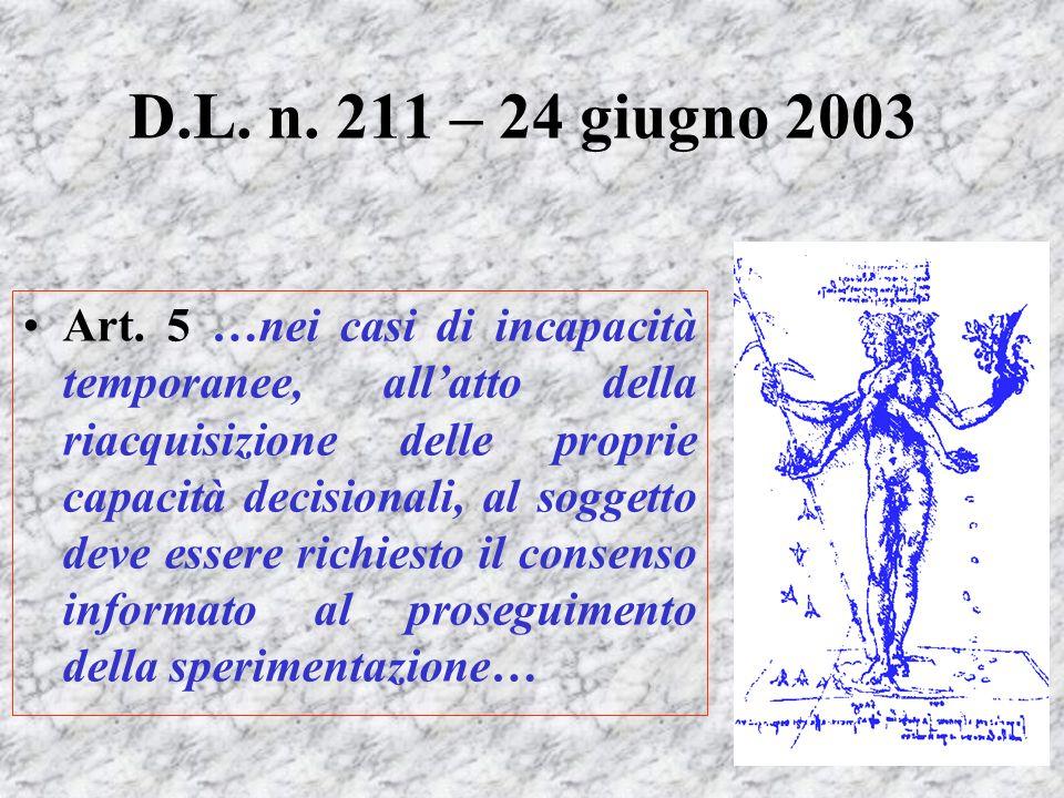Art. 5 …nei casi di incapacità temporanee, allatto della riacquisizione delle proprie capacità decisionali, al soggetto deve essere richiesto il conse
