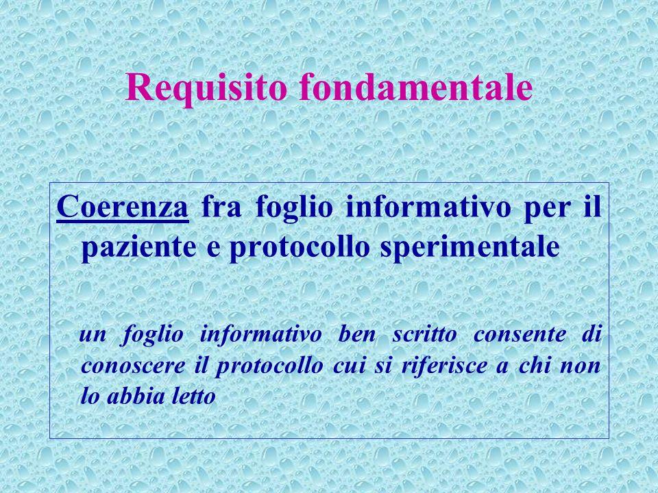 Requisito fondamentale Coerenza fra foglio informativo per il paziente e protocollo sperimentale un foglio informativo ben scritto consente di conosce