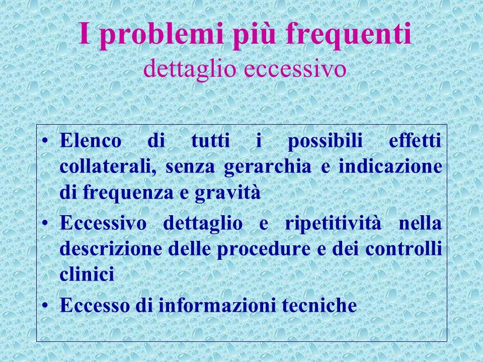 I problemi più frequenti dettaglio eccessivo Elenco di tutti i possibili effetti collaterali, senza gerarchia e indicazione di frequenza e gravità Ecc