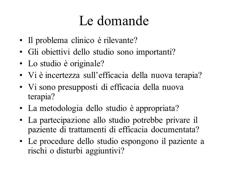 Le domande Il problema clinico è rilevante? Gli obiettivi dello studio sono importanti? Lo studio è originale? Vi è incertezza sullefficacia della nuo
