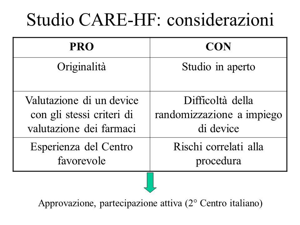 Studio CARE-HF: considerazioni PROCON OriginalitàStudio in aperto Valutazione di un device con gli stessi criteri di valutazione dei farmaci Difficolt