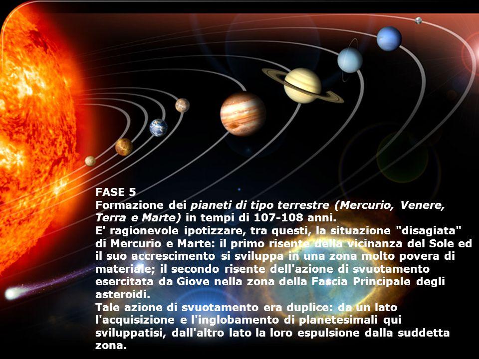 FASE 5 Formazione dei pianeti di tipo terrestre (Mercurio, Venere, Terra e Marte) in tempi di 107-108 anni. E' ragionevole ipotizzare, tra questi, la