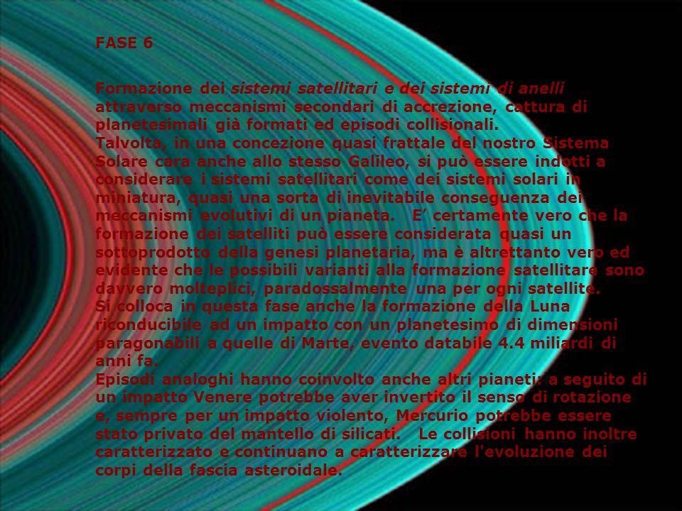 FASE 6 Formazione dei sistemi satellitari e dei sistemi di anelli attraverso meccanismi secondari di accrezione, cattura di planetesimali già formati