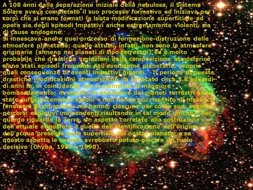 A 108 anni dalla separazione iniziale della nebulosa, il Sistema Solare aveva completato il suo processo formativo ed iniziava per i corpi che si eran