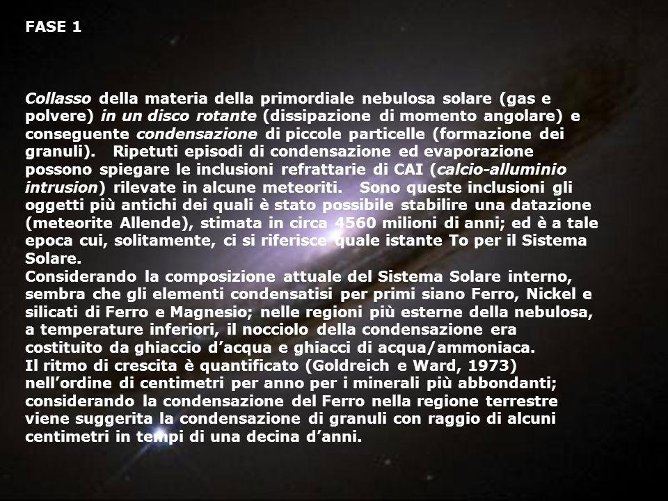 FASE 1 Collasso della materia della primordiale nebulosa solare (gas e polvere) in un disco rotante (dissipazione di momento angolare) e conseguente c