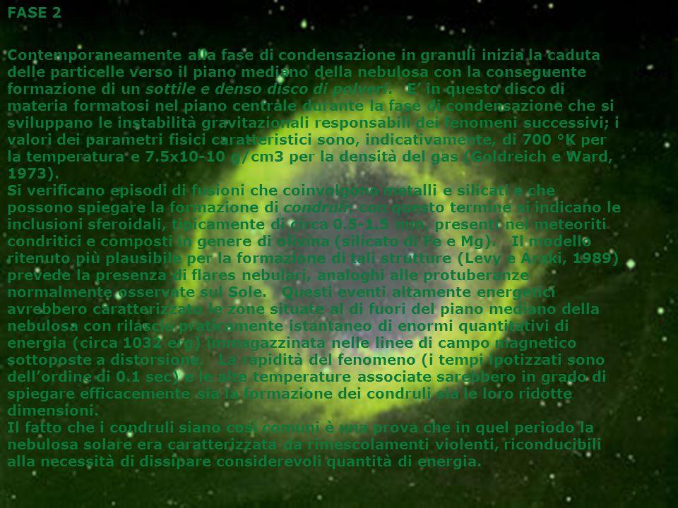 FASE 2 Contemporaneamente alla fase di condensazione in granuli inizia la caduta delle particelle verso il piano mediano della nebulosa con la consegu
