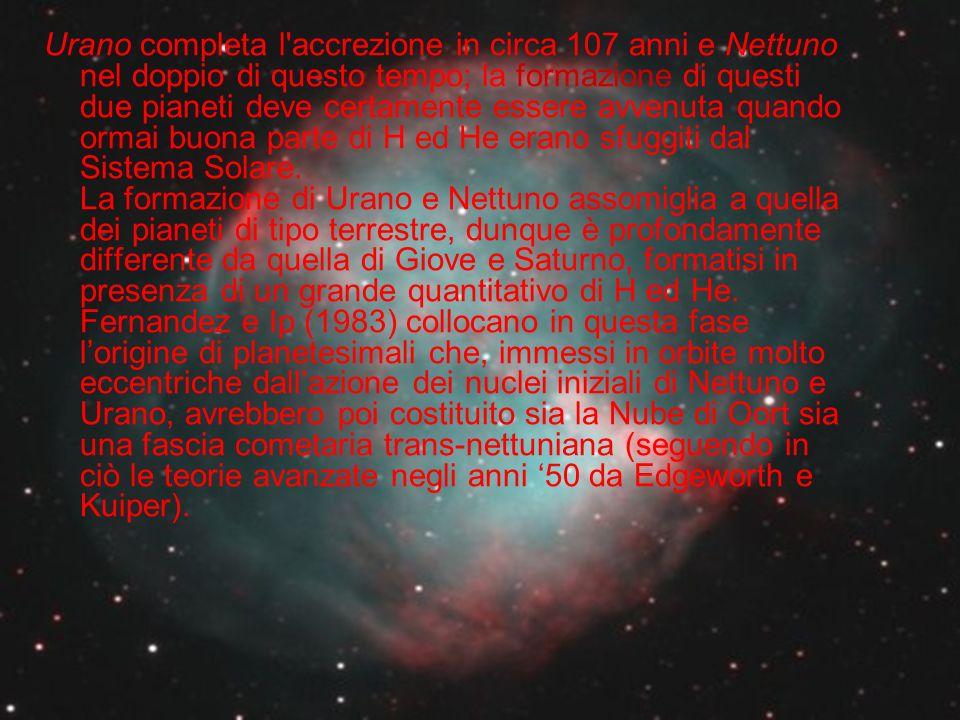 Urano completa l'accrezione in circa 107 anni e Nettuno nel doppio di questo tempo; la formazione di questi due pianeti deve certamente essere avvenut