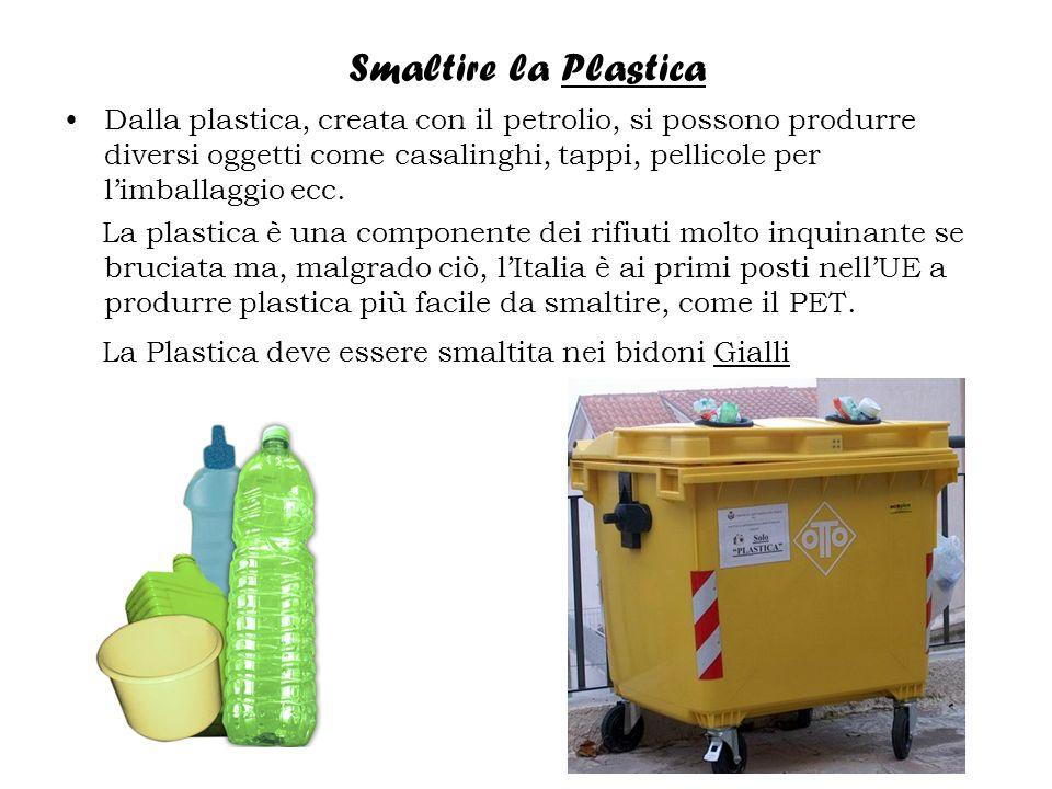 Smaltire la Plastica Dalla plastica, creata con il petrolio, si possono produrre diversi oggetti come casalinghi, tappi, pellicole per limballaggio ecc.