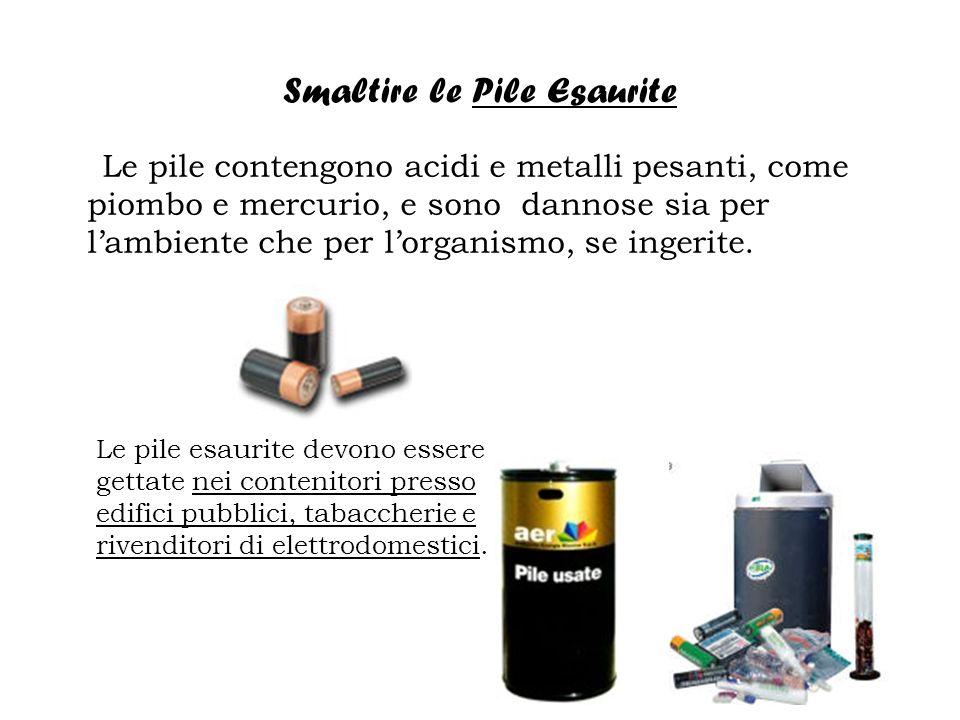 Smaltire le Pile Esaurite Le pile contengono acidi e metalli pesanti, come piombo e mercurio, e sono dannose sia per lambiente che per lorganismo, se ingerite.