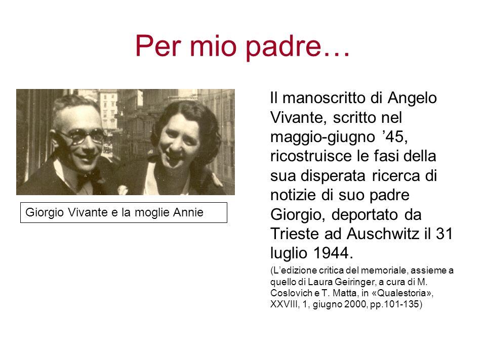 Per mio padre… Il manoscritto di Angelo Vivante, scritto nel maggio-giugno 45, ricostruisce le fasi della sua disperata ricerca di notizie di suo padr