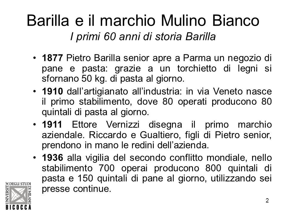3 Barilla e il marchio Mulino Bianco Altri 60 anni di storia Barilla 1947 la guerra è finita.