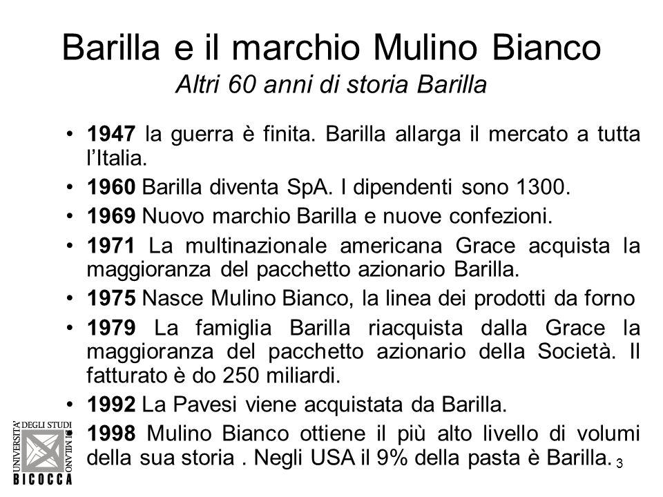 4 Barilla e il marchio Mulino Bianco Il gruppo Barilla Barilla è guidata da quattro generazioni dalla stessa famiglia.
