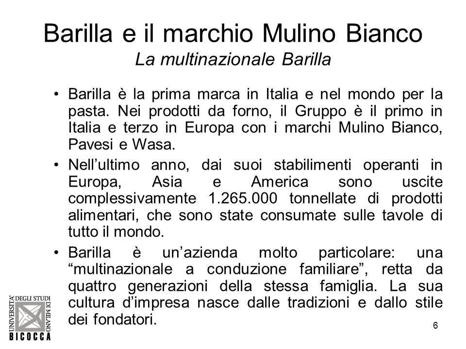 7 Barilla e il marchio Mulino Bianco La ricerca e sviluppo Barilla Il gruppo investe nella ricerca e sviluppo di prodotto e di processo.