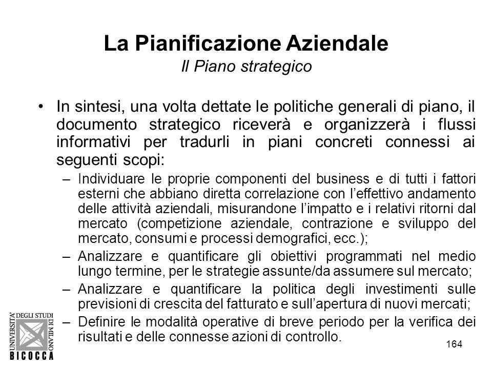 164 La Pianificazione Aziendale Il Piano strategico In sintesi, una volta dettate le politiche generali di piano, il documento strategico riceverà e o