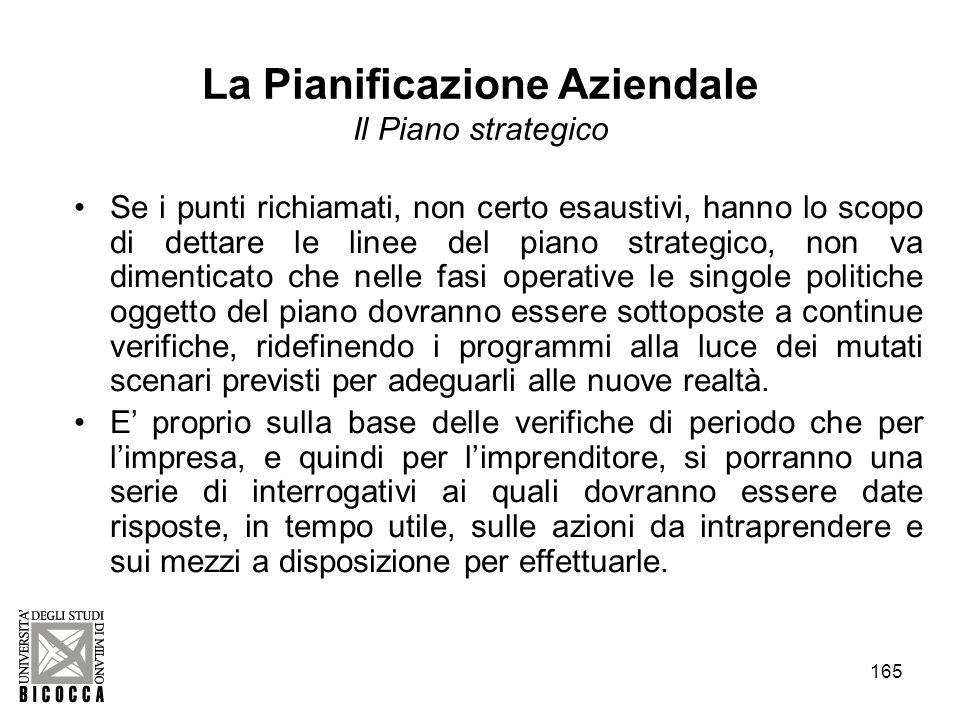 165 La Pianificazione Aziendale Il Piano strategico Se i punti richiamati, non certo esaustivi, hanno lo scopo di dettare le linee del piano strategic