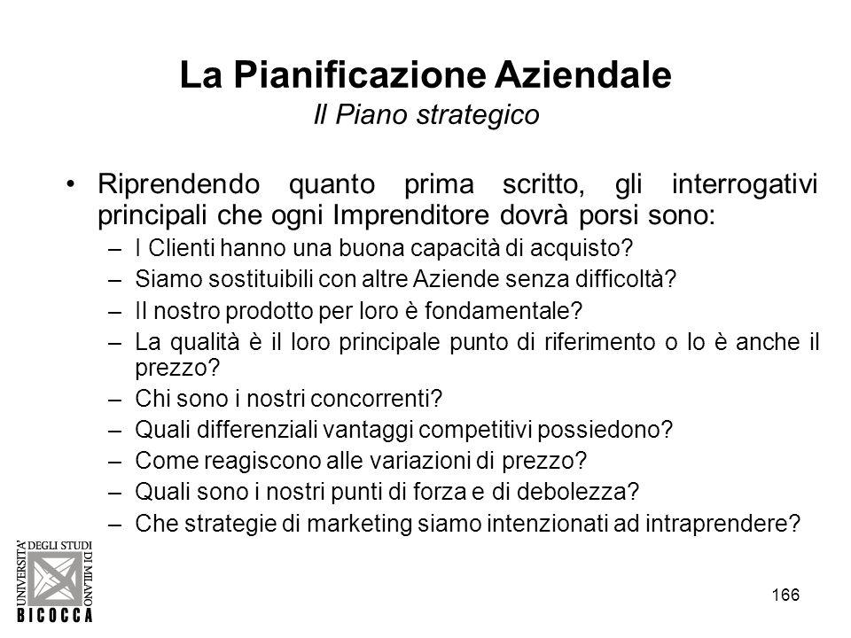 166 La Pianificazione Aziendale Il Piano strategico Riprendendo quanto prima scritto, gli interrogativi principali che ogni Imprenditore dovrà porsi s