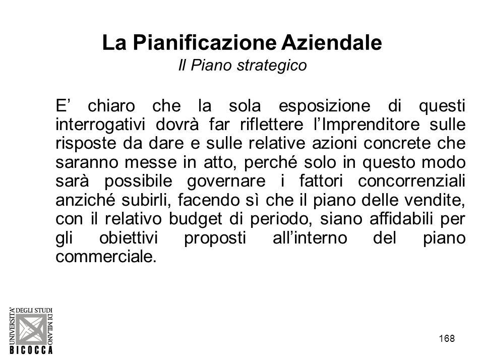 168 La Pianificazione Aziendale Il Piano strategico E chiaro che la sola esposizione di questi interrogativi dovrà far riflettere lImprenditore sulle
