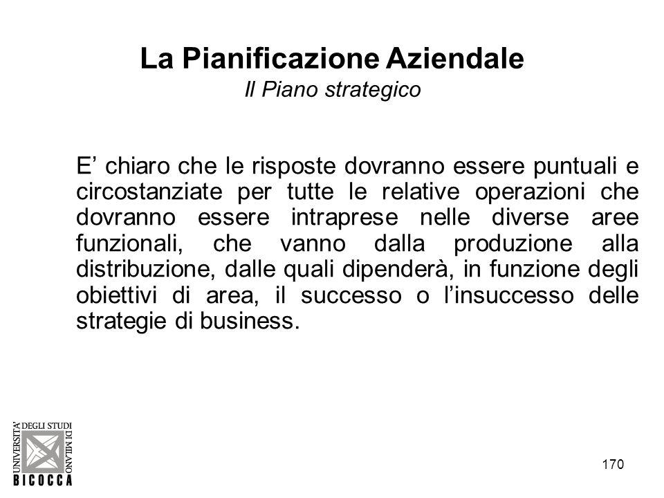 170 La Pianificazione Aziendale Il Piano strategico E chiaro che le risposte dovranno essere puntuali e circostanziate per tutte le relative operazion