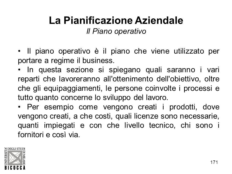 171 La Pianificazione Aziendale Il Piano operativo Il piano operativo è il piano che viene utilizzato per portare a regime il business. In questa sezi