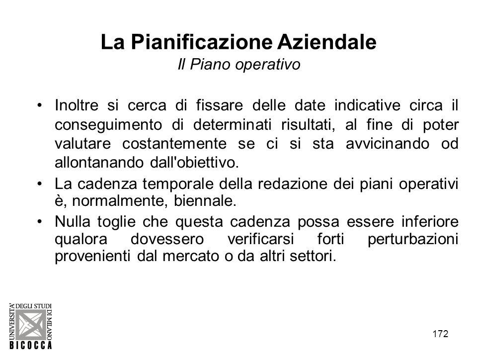 172 La Pianificazione Aziendale Il Piano operativo Inoltre si cerca di fissare delle date indicative circa il conseguimento di determinati risultati,