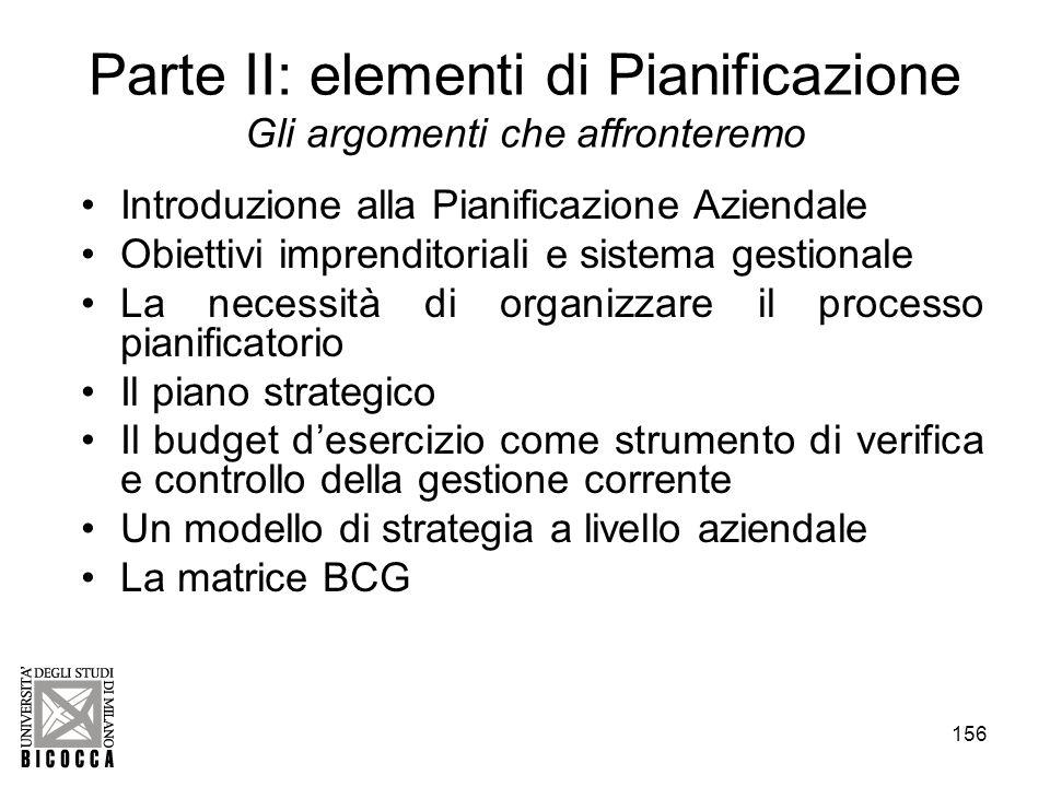 156 Parte II: elementi di Pianificazione Gli argomenti che affronteremo Introduzione alla Pianificazione Aziendale Obiettivi imprenditoriali e sistema