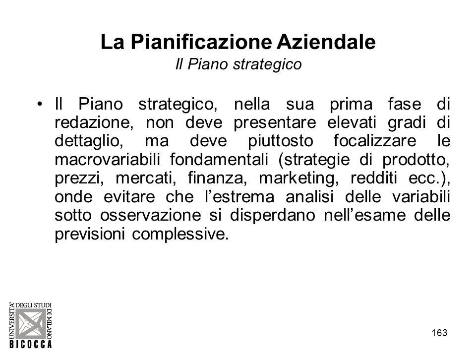 163 La Pianificazione Aziendale Il Piano strategico Il Piano strategico, nella sua prima fase di redazione, non deve presentare elevati gradi di detta