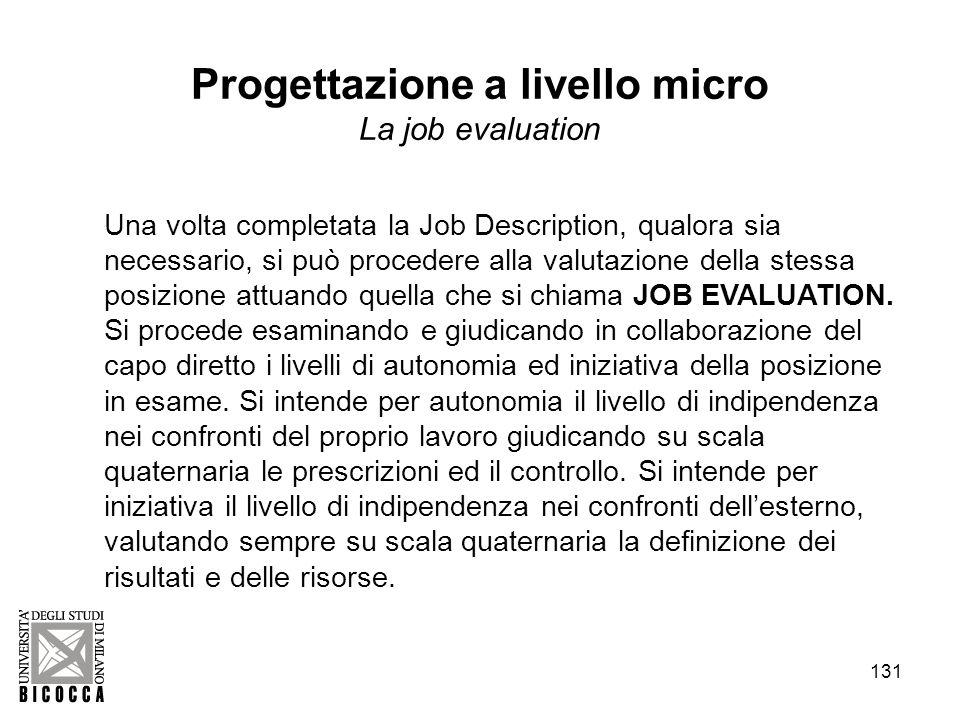 131 Una volta completata la Job Description, qualora sia necessario, si può procedere alla valutazione della stessa posizione attuando quella che si chiama JOB EVALUATION.