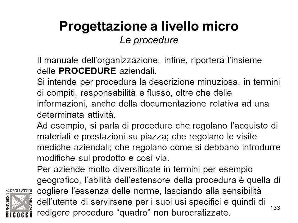 133 Il manuale dellorganizzazione, infine, riporterà linsieme delle PROCEDURE aziendali.