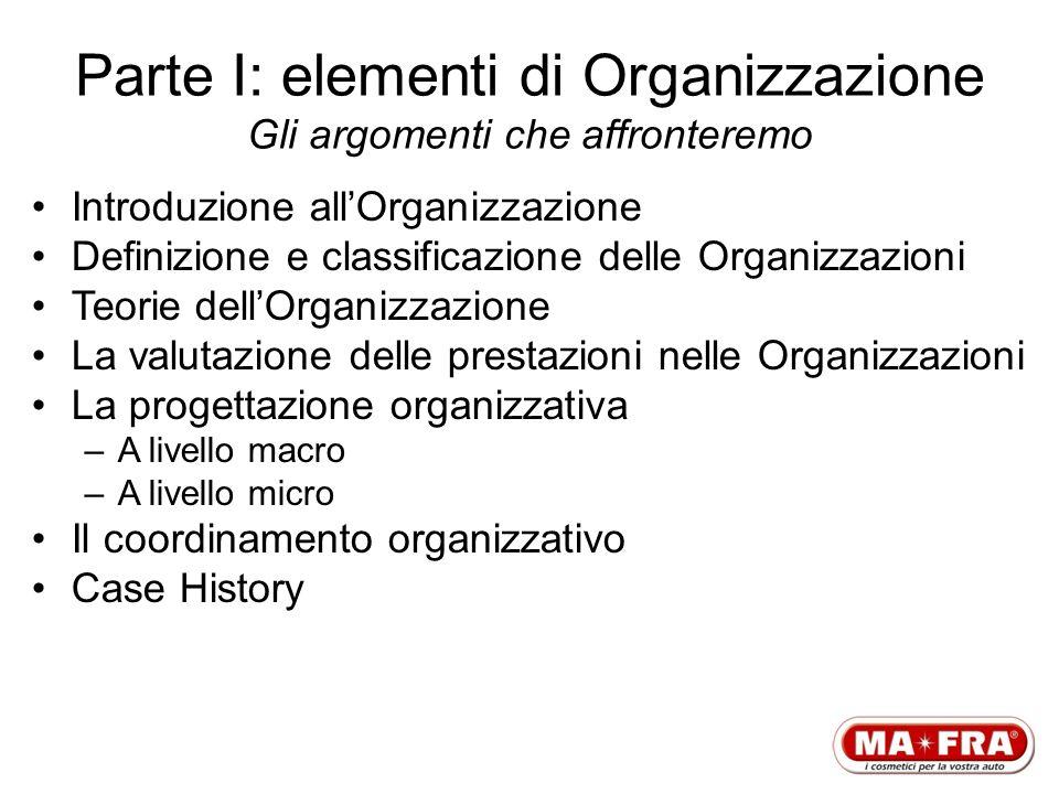 Parte I: elementi di Organizzazione Gli argomenti che affronteremo Introduzione allOrganizzazione Definizione e classificazione delle Organizzazioni T