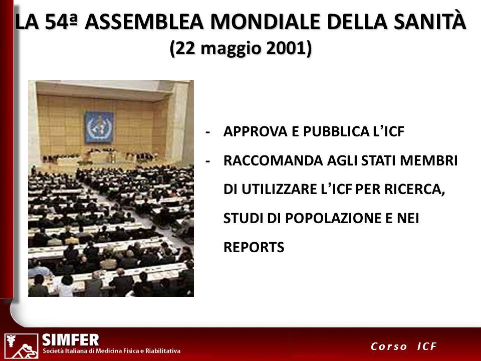 22 Corso ICF LA 54ª ASSEMBLEA MONDIALE DELLA SANITÀ (22 maggio 2001) -APPROVA E PUBBLICA LICF -RACCOMANDA AGLI STATI MEMBRI DI UTILIZZARE LICF PER RIC