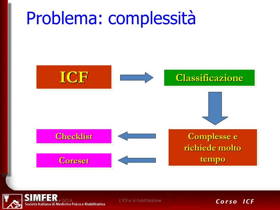 27 Corso ICF Problema: complessitàICFICF ClassificazioneClassificazione Complesse e richiede molto tempo ChecklistChecklist CoresetCoreset Icf in fase
