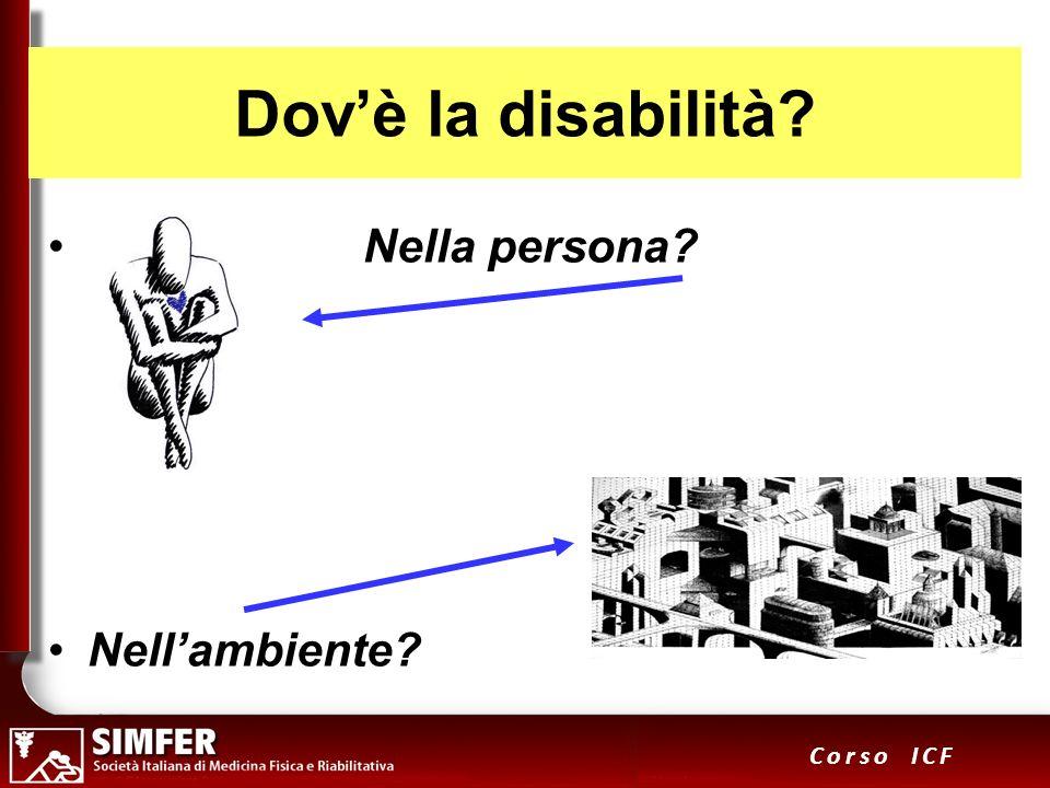 4 Corso ICF Dovè la disabilità? Persona nellambiente ?