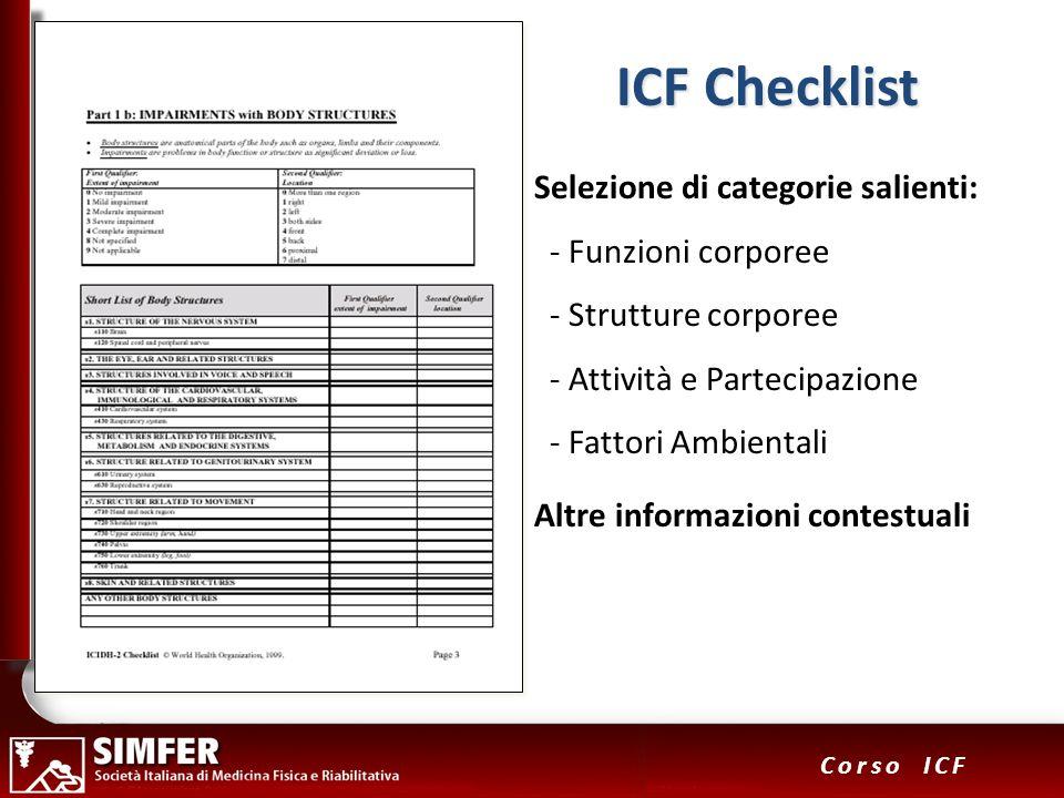 31 Corso ICF Selezione di categorie salienti: - Funzioni corporee - Strutture corporee - Attività e Partecipazione - Fattori Ambientali Altre informaz