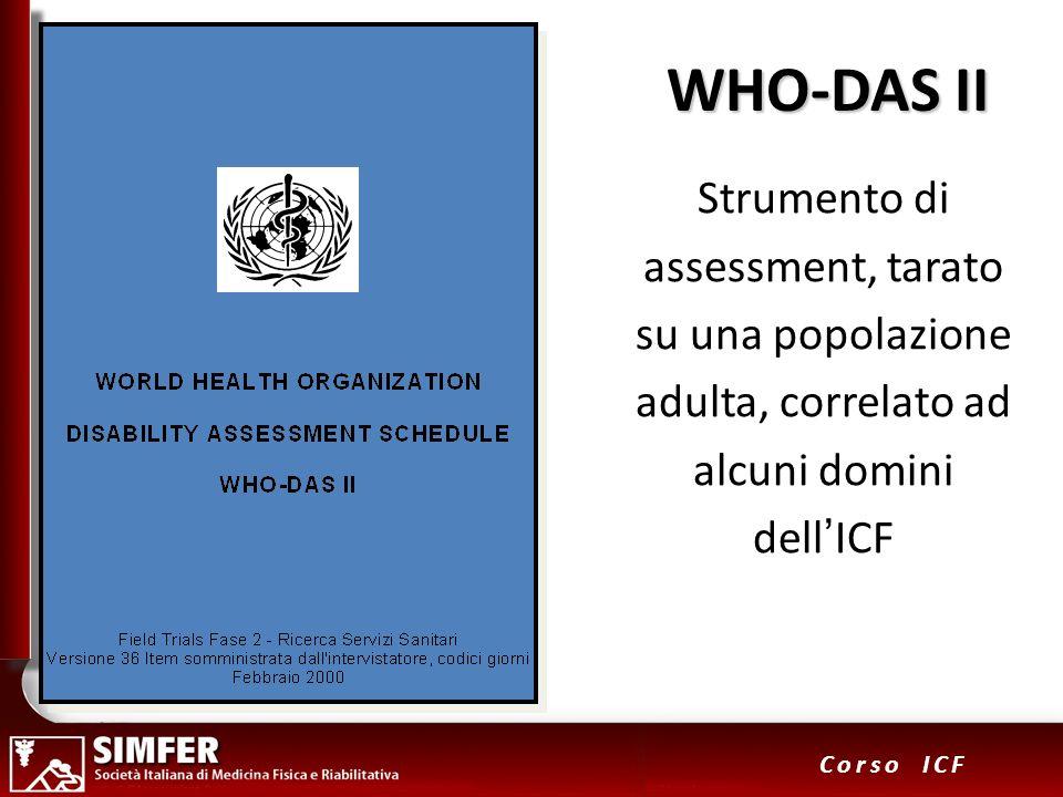 34 Corso ICF WHO-DAS II Strumento di assessment, tarato su una popolazione adulta, correlato ad alcuni domini dellICF