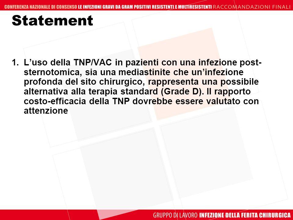 Statement 1.Luso della TNP/VAC in pazienti con una infezione post- sternotomica, sia una mediastinite che uninfezione profonda del sito chirurgico, ra
