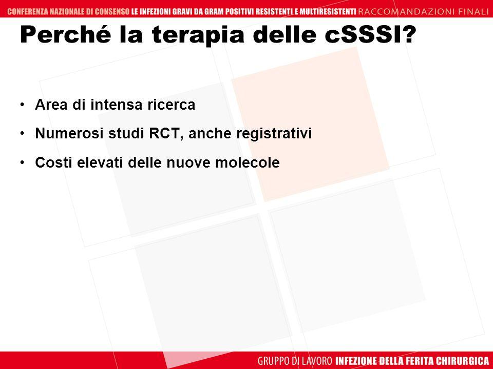 Area di intensa ricerca Numerosi studi RCT, anche registrativi Costi elevati delle nuove molecole Perché la terapia delle cSSSI?