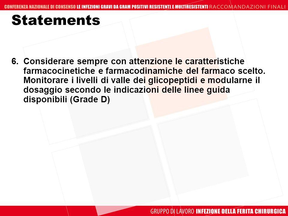 Statements 6.Considerare sempre con attenzione le caratteristiche farmacocinetiche e farmacodinamiche del farmaco scelto. Monitorare i livelli di vall