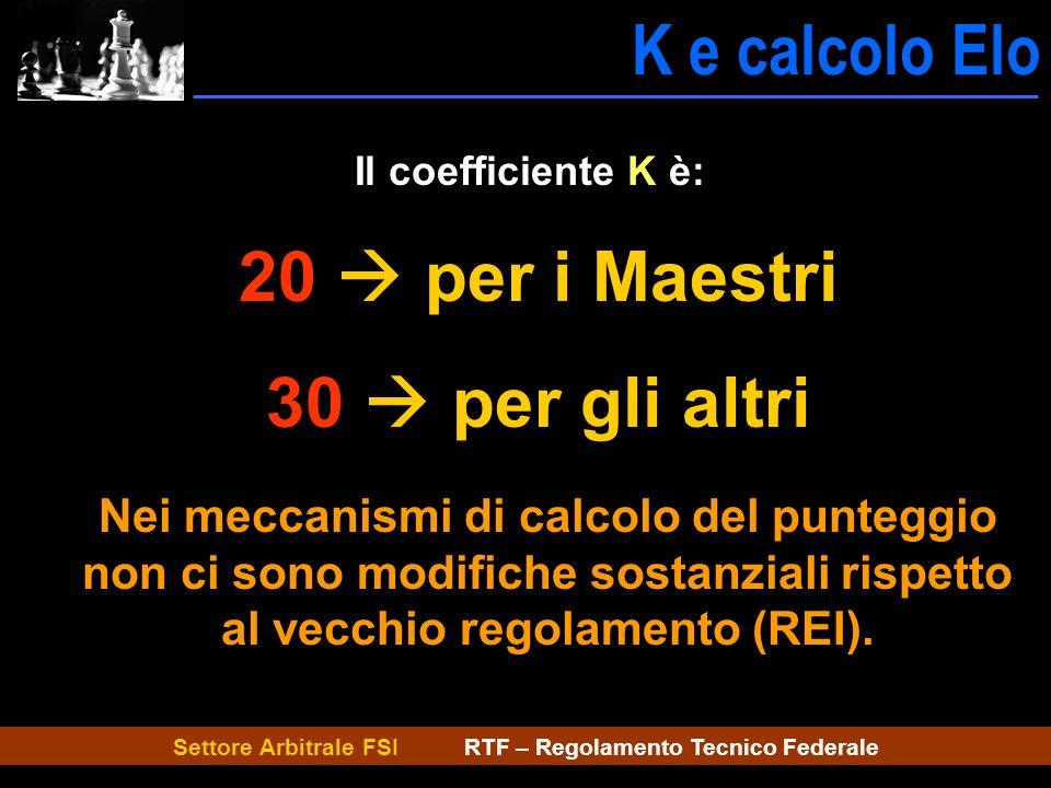 Settore Arbitrale FSI RTF – Regolamento Tecnico Federale K e calcolo Elo K e calcolo Il coefficiente K è: 20 per i Maestri 30 per gli altri Nei meccan