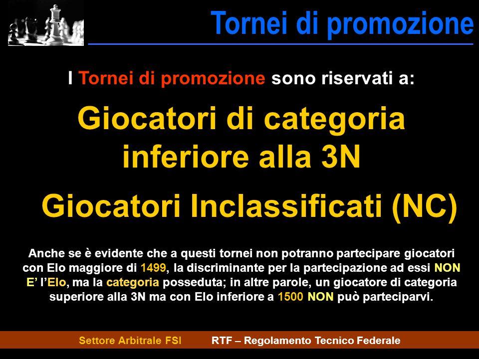Settore Arbitrale FSI RTF – Regolamento Tecnico Federale Tornei di promozione Tornei Promoz. I Tornei di promozione sono riservati a: Giocatori di cat