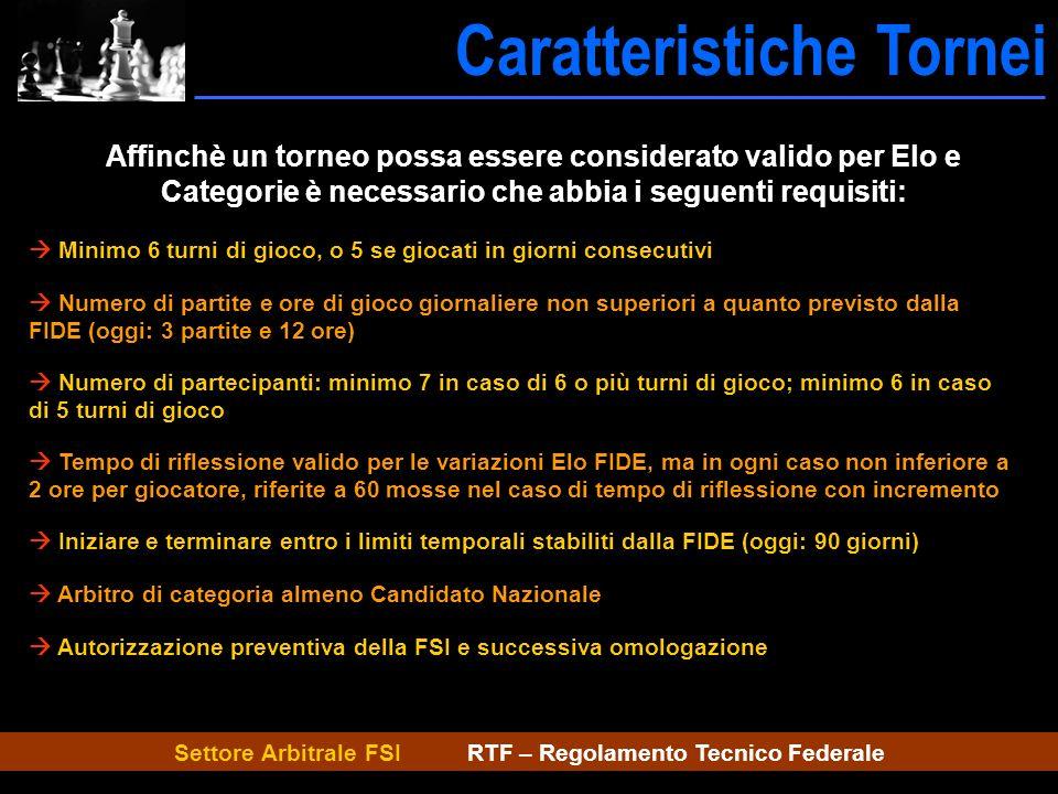 Settore Arbitrale FSI RTF – Regolamento Tecnico Federale Caratteristiche Tornei Caratt.tornei Affinchè un torneo possa essere considerato valido per E