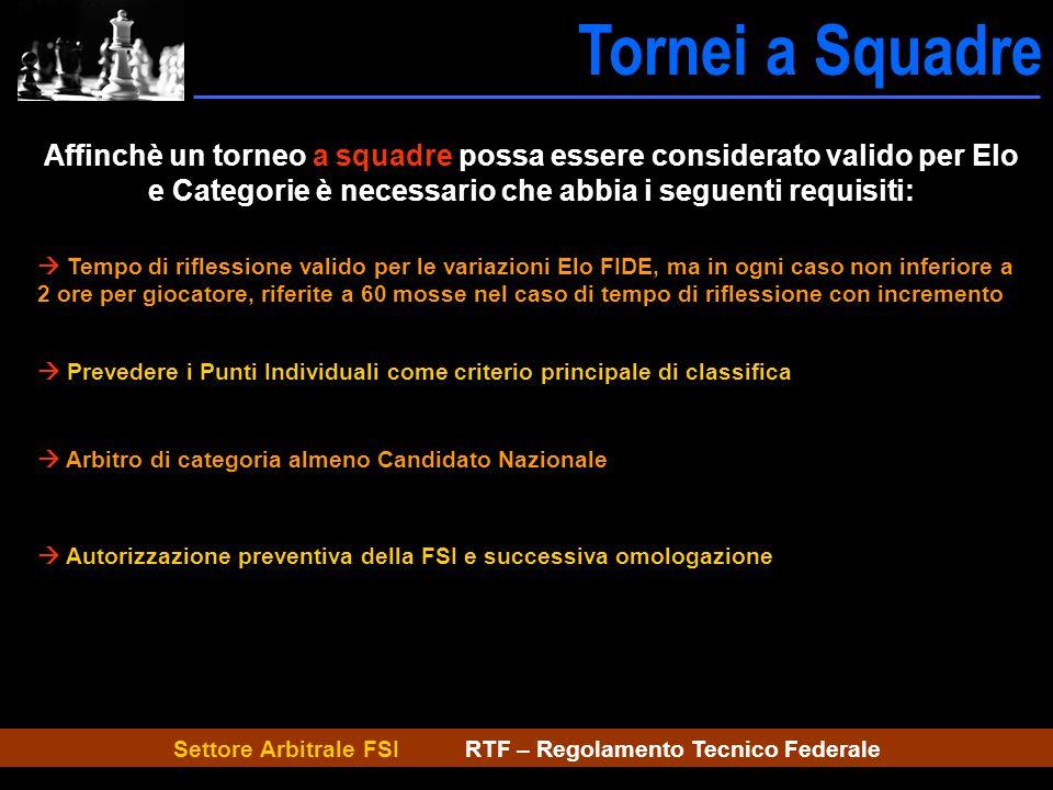 Settore Arbitrale FSI RTF – Regolamento Tecnico Federale Tornei a Squadre Caratt.tornei Affinchè un torneo a squadre possa essere considerato valido p