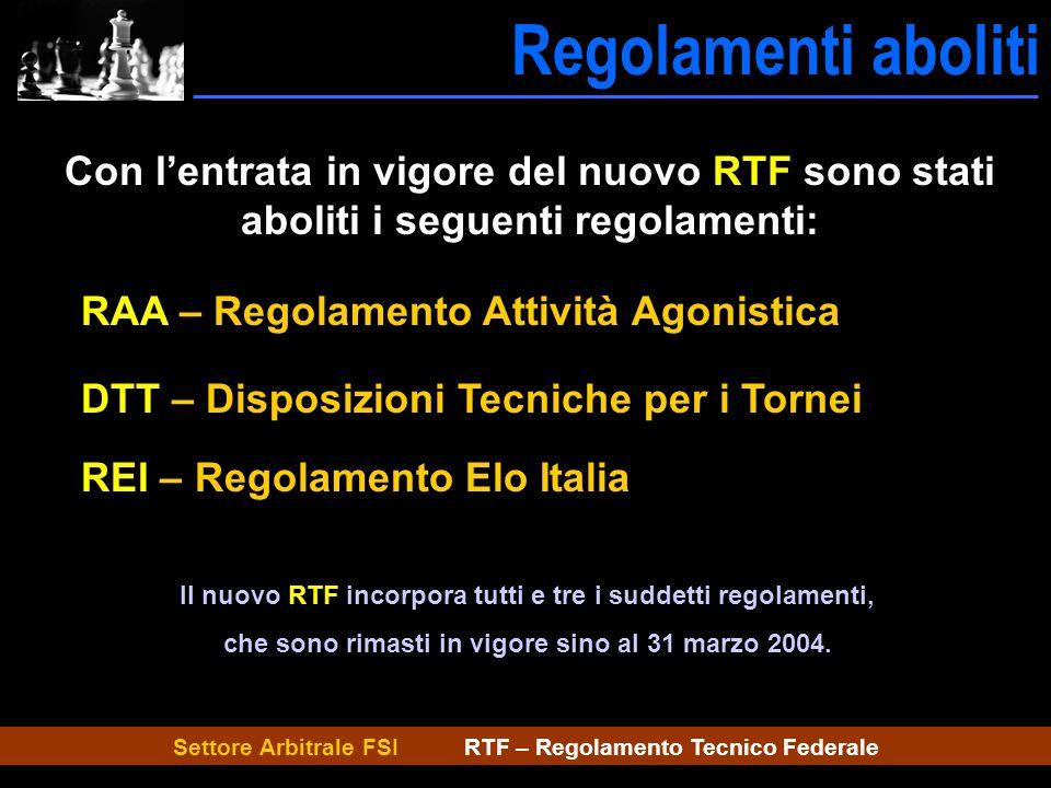 Settore Arbitrale FSI RTF – Regolamento Tecnico Federale Regolamenti aboliti Con lentrata in vigore del nuovo RTF sono stati aboliti i seguenti regola