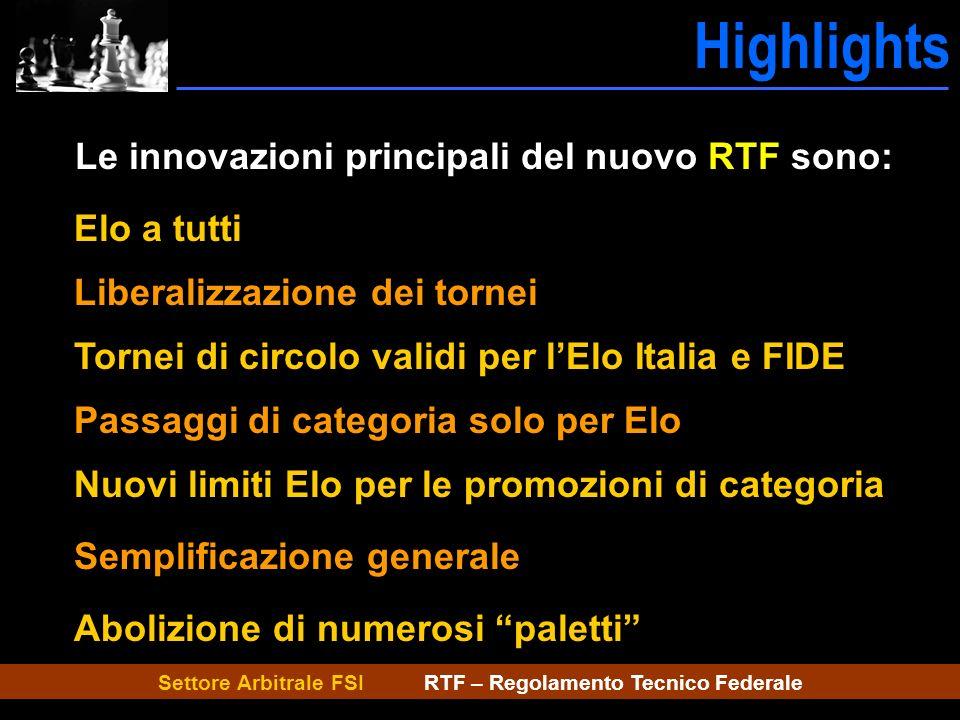 Settore Arbitrale FSI RTF – Regolamento Tecnico Federale Highlights Caratteristiche Le innovazioni principali del nuovo RTF sono: Elo a tutti Liberali