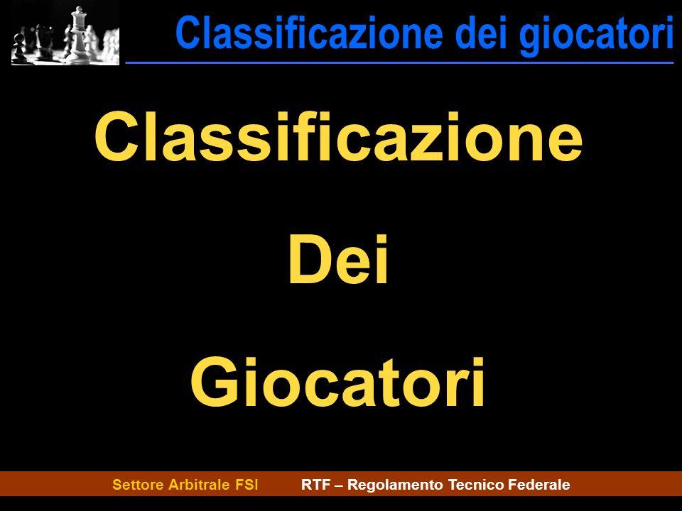 Settore Arbitrale FSI RTF – Regolamento Tecnico Federale Classificazione dei giocatori ---Classificazione Classificazione Dei Giocatori