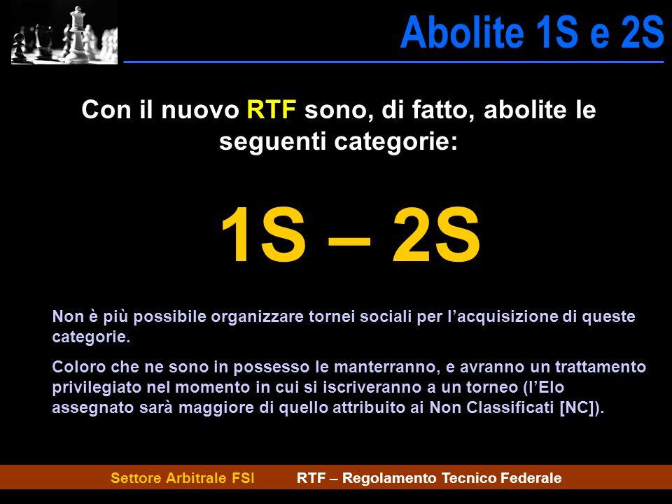 Settore Arbitrale FSI RTF – Regolamento Tecnico Federale Abolite 1S e 2S Abolite 1S-2S Con il nuovo RTF sono, di fatto, abolite le seguenti categorie: