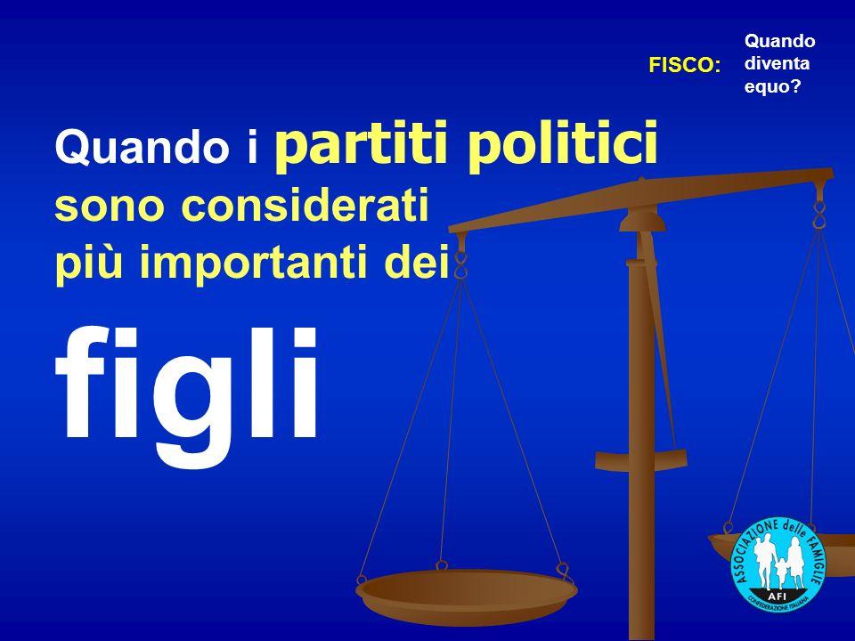Quando i partiti politici sono considerati più importanti dei figli FISCO: Quando diventa equo?