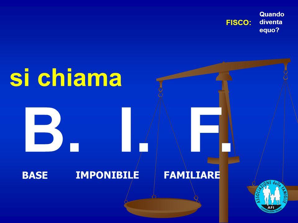 si chiama B. I. F. BASE IMPONIBILEFAMILIARE FISCO: Quando diventa equo?