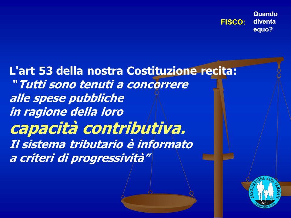 L art 53 della nostra Costituzione recita: Tutti sono tenuti a concorrere alle spese pubbliche in ragione della loro capacità contributiva.